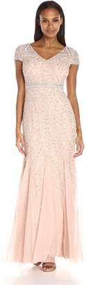 Adrianna Papell Women's Cap Sleeve Beaded Lace Godet Gown