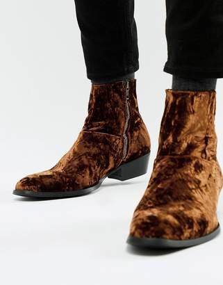 Asos DESIGN stacked heel western chelsea boots in bronze crushed velvet