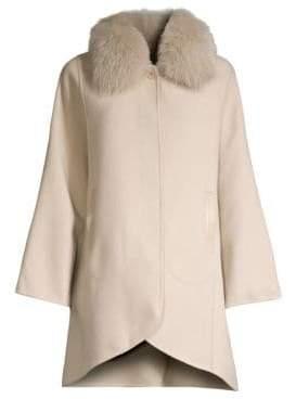 Elie Tahari Home Fox Fur Collar Wool-Blend Coat
