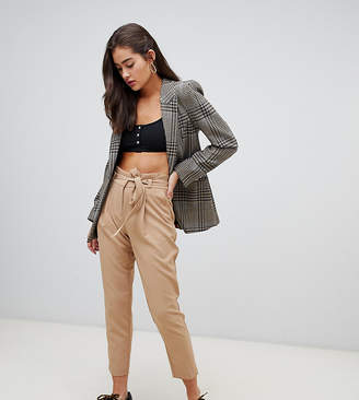 New Look tie waist tapered pants in camel