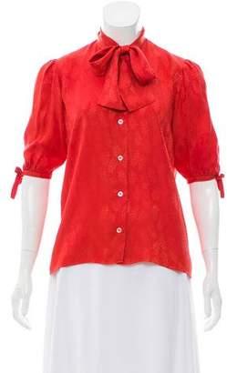 Saint Laurent Patterned Short Sleeve Blouse