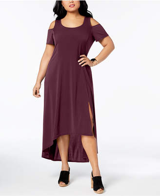 b5db40060d2 NY Collection Plus Size Cold-Shoulder Maxi Dress