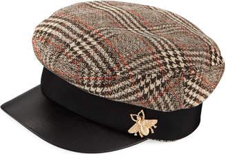 San Diego Hat Company Herringbone Fisherman Cap w/ Faux Leather Brim
