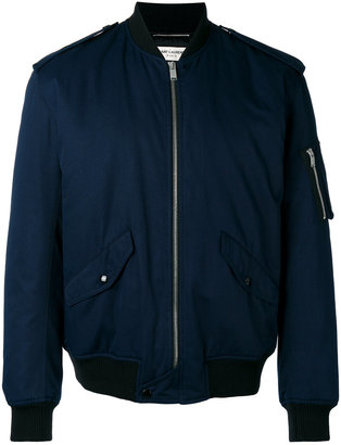 Saint Laurent buttoned shoulders bomber jacket $1,990 thestylecure.com