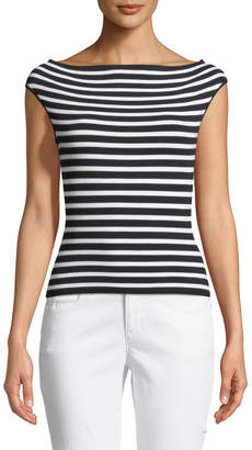 Michael Kors Striped Off-the-Shoulder Cap-Sleeve Sweater, Black/White