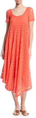 Fuzzi Short-Sleeve Asymmetric-Hem Dotted Dress