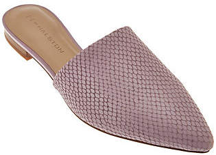 Halston H by Pointed Toe Snake Embossed LeatherSlide - Alina
