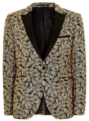 Topman Mens Metallic Gold And Black Ultra Skinny Tuxedo Jacket