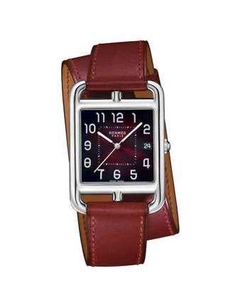 Hermes Cape Cod PM Stainless Steel & Double Tour Leather Strap Watch