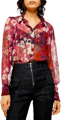 Topshop Poppy Floral Ruffle Blouse