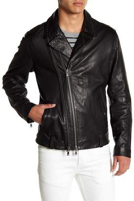 John Varvatos Collection Studded Collar Sheep Leather Biker Jacket