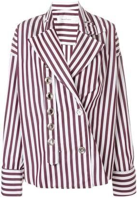 Marques Almeida Marques'almeida striped eyelet detailed shirt