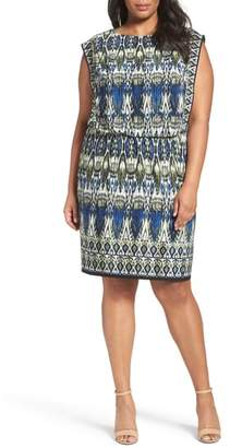 London Times Print Jersey Blouson Dress