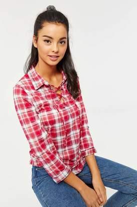 Ardene Laced Collar Plaid Shirt
