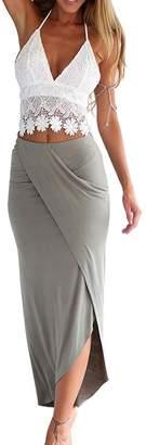 Herose Girls Petite Size Halterneck Backless Floral Lace Crop Top Tea Length Dress S