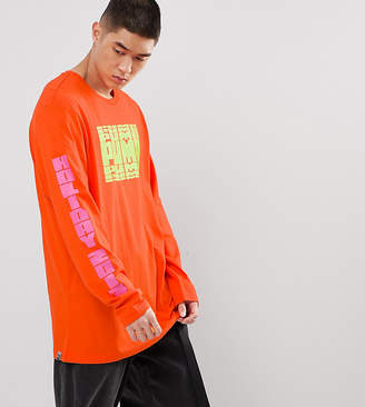 Puma Graphic Long Sleeve T-Shirt With Arm Print In Orange Exclusive To ASOS