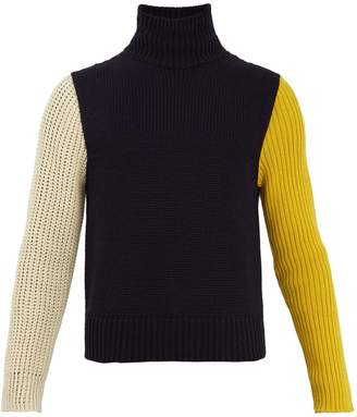 Calvin Klein Contrast-sleeve wool-blend knit sweater