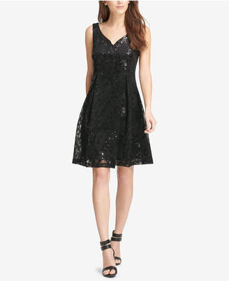 DKNY Sequined Fit & Flare Dress