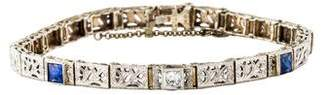 14K Antique Diamond & Synthetic Sapphire Link Bracelet
