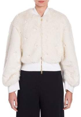 Stella McCartney Fur Free Pearl-Embellished Bomber Jacket