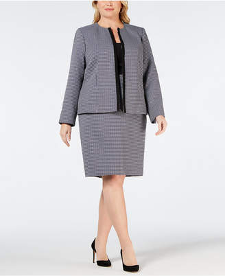 Le Suit Plus Size Plaid Flyaway Skirt Suit