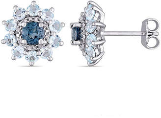 Laura Ashley FINE JEWELRY Genuine Blue Blue Topaz Sterling Silver Flower Ear Pins