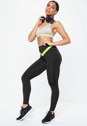 Missguided Active Black & Lime Stripe Full Length Gym Leggings