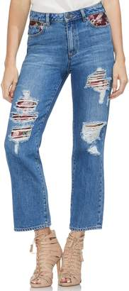 Vince Camuto Tapestry Patchwork Crop Straight Leg Jeans