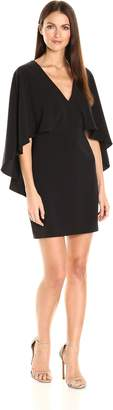 Halston Women's Flowy Cape Sleeve V Neck Crepe Dress