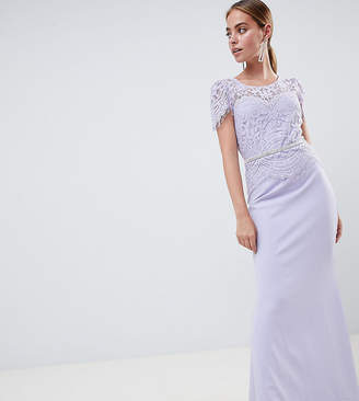 City Goddess Petite Lace Belted Fishtail Maxi Dress