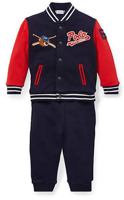 Ralph Lauren Baby Boy's Two-Piece Cotton French Terry Baseball Jacket Pants Set