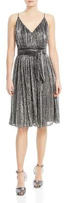 Halston Metallic Jersey Belted Dress
