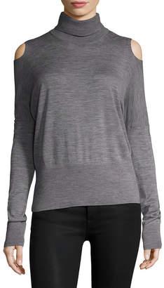 Vince Wool Cold-Shoulder Turtleneck Sweater