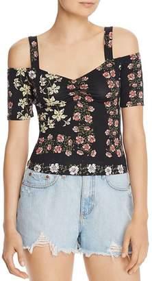 GUESS Jada Floral-Print Cold-Shoulder Top