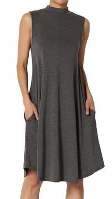 TheMogan Women's Sleeveless Mock Neck Jersey Pocket Fit & Flare Dress Charcoal L