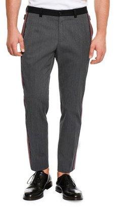 Dolce & Gabbana Wool Side-Stripe Pants, Dark Gray $845 thestylecure.com