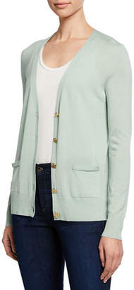 Tory Burch Madeline Relaxed V-Neck Merino Cardigan