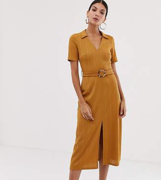 Asos Tall DESIGN Tall rib midi shirt dress with faux tortoiseshell buckle