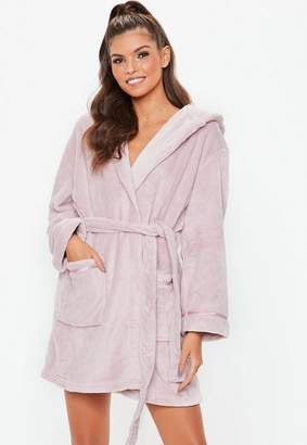 Missguided Taupe Fluffy Dressing Gown