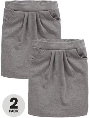 Very Schoolwear Girls Jersey School Tulip Skirts - Grey (2 Pack)