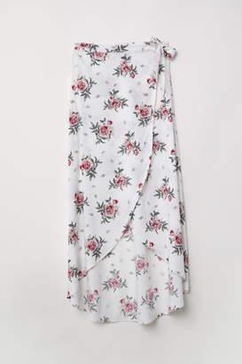 H&M Long Wrap-front Skirt - White