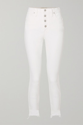 Madewell Cropped Frayed High-rise Skinny Jeans - White