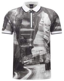 BOSS Hugo Slim-fit zipper-neck printed polo shirt cotton L Black