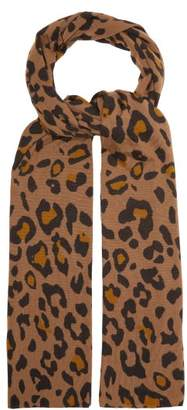 Allude Leopard Print Wool Scarf - Womens - Brown