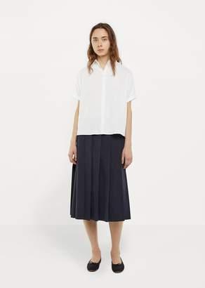La Garçonne Moderne Pleated Wrap Skirt Navy