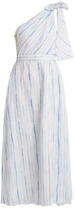 Gül Hürgel Gul Hurgel - One Shoulder Striped Linen Dress - Womens - Blue Stripe