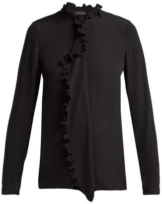 Etro Jeanette Ruffle Trimmed Silk Crepe De Chine Blouse - Womens - Black