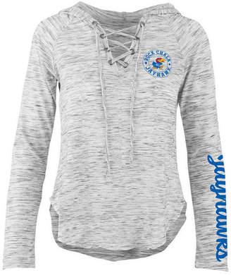 Pressbox Women's Kansas Jayhawks Spacedye Lace Up Long Sleeve T-Shirt