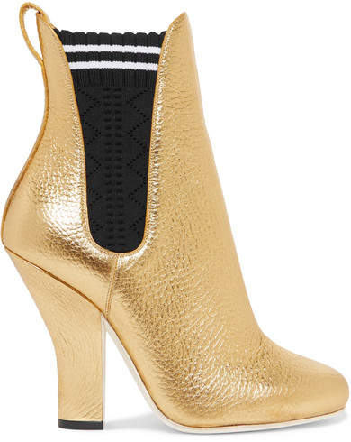 Fendi - Metallic Textured-leather Ankle Boots - Gold