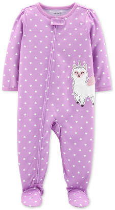 Carter's Carter Baby Girls 1-Pc. Llamacorn Heart-Print Footed Pajamas